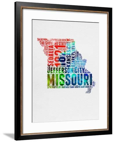 Missouri Watercolor Word Cloud-NaxArt-Framed Art Print