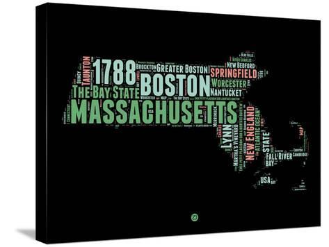 Massachusetts Word Cloud 1-NaxArt-Stretched Canvas Print