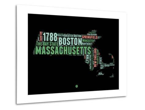 Massachusetts Word Cloud 1-NaxArt-Metal Print