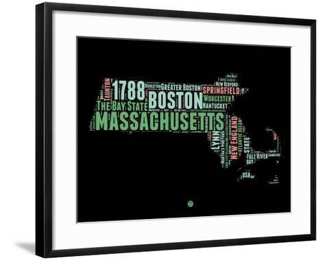 Massachusetts Word Cloud 1-NaxArt-Framed Art Print