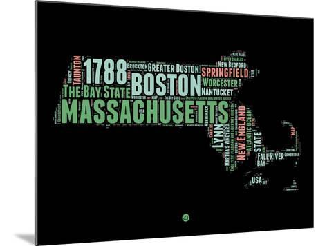 Massachusetts Word Cloud 1-NaxArt-Mounted Art Print