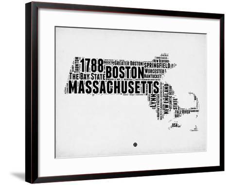 Massachusetts Word Cloud 2-NaxArt-Framed Art Print