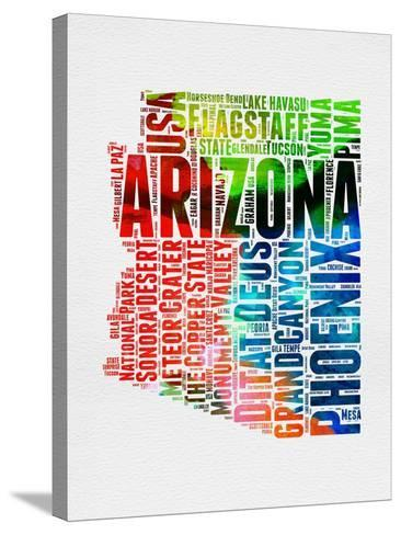 Arizona Watercolor Word Cloud-NaxArt-Stretched Canvas Print