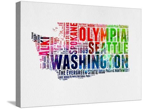 Washington Watercolor Word Cloud-NaxArt-Stretched Canvas Print