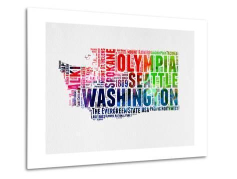 Washington Watercolor Word Cloud-NaxArt-Metal Print