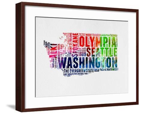 Washington Watercolor Word Cloud-NaxArt-Framed Art Print