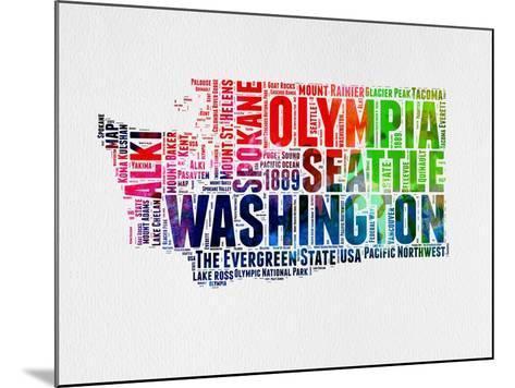Washington Watercolor Word Cloud-NaxArt-Mounted Art Print