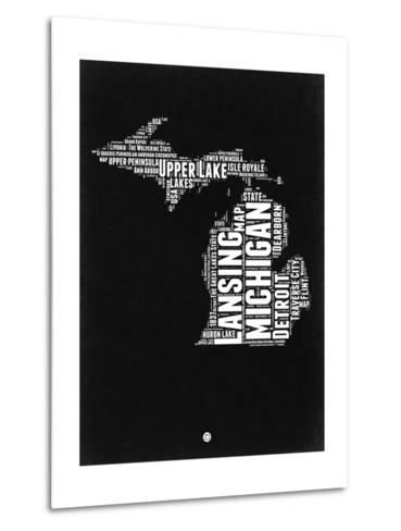 Michigan Black and White Map-NaxArt-Metal Print