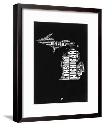 Michigan Black and White Map-NaxArt-Framed Art Print