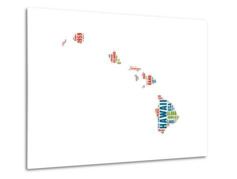 Hawaii Word Cloud Map-NaxArt-Metal Print