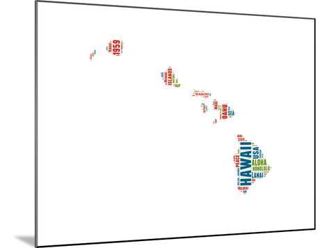 Hawaii Word Cloud Map-NaxArt-Mounted Art Print