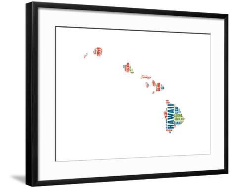 Hawaii Word Cloud Map-NaxArt-Framed Art Print