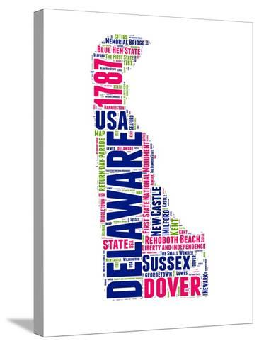 Delaware Word Cloud Map-NaxArt-Stretched Canvas Print