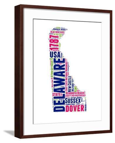 Delaware Word Cloud Map-NaxArt-Framed Art Print