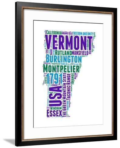 Vermont Word Cloud Map-NaxArt-Framed Art Print