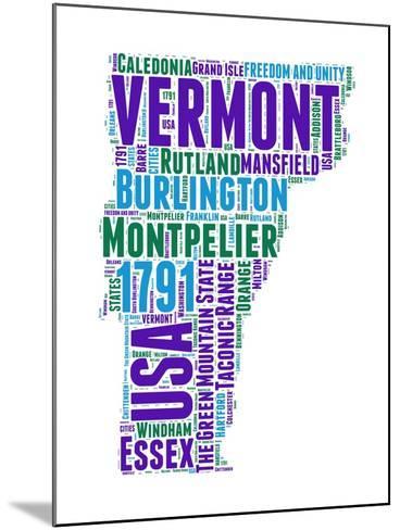 Vermont Word Cloud Map-NaxArt-Mounted Art Print