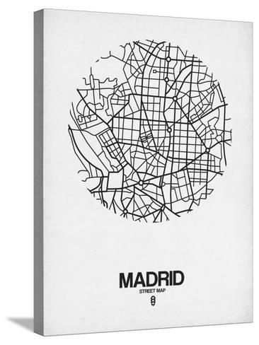 Madrid Street Map White-NaxArt-Stretched Canvas Print