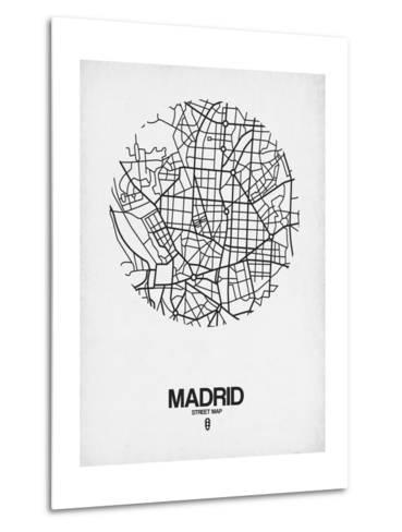 Madrid Street Map White-NaxArt-Metal Print