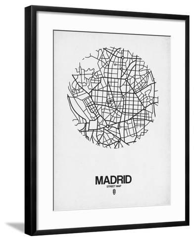 Madrid Street Map White-NaxArt-Framed Art Print