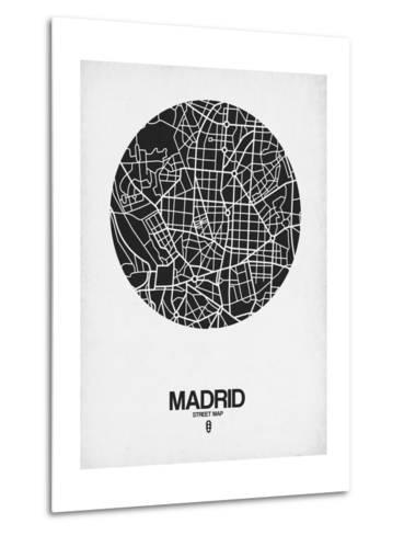 Madrid Street Map Black on White-NaxArt-Metal Print