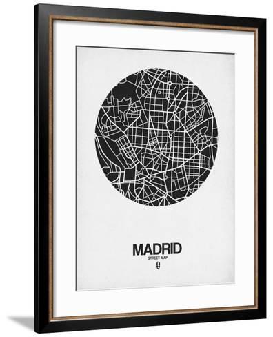 Madrid Street Map Black on White-NaxArt-Framed Art Print