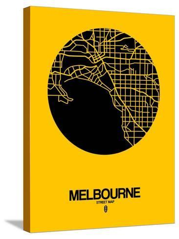 Melbourne Street Map Yellow-NaxArt-Stretched Canvas Print