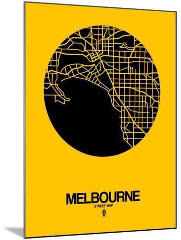 Melbourne Street Map Yellow-NaxArt-Mounted Art Print