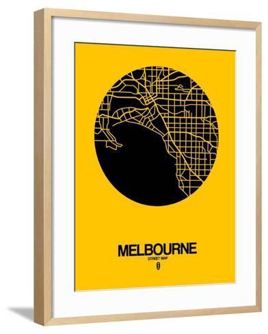 Melbourne Street Map Yellow-NaxArt-Framed Art Print