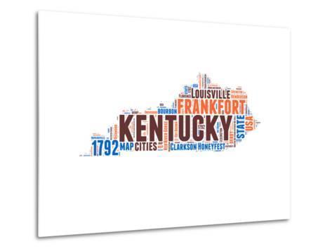 Kentucky Word Cloud Map-NaxArt-Metal Print