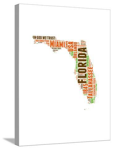 Florida Word Cloud Map-NaxArt-Stretched Canvas Print