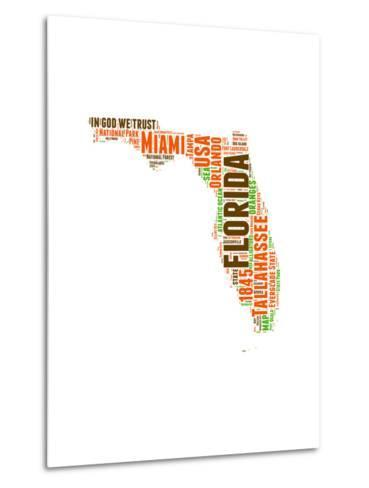 Florida Word Cloud Map-NaxArt-Metal Print