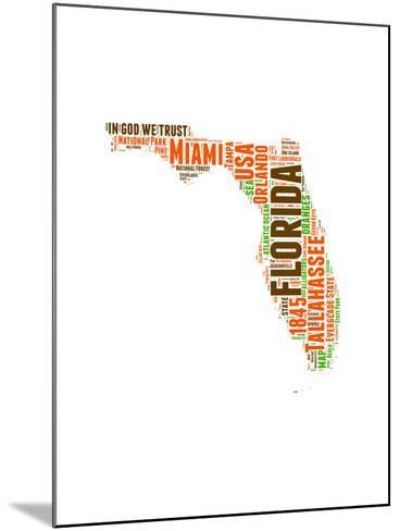 Florida Word Cloud Map-NaxArt-Mounted Art Print