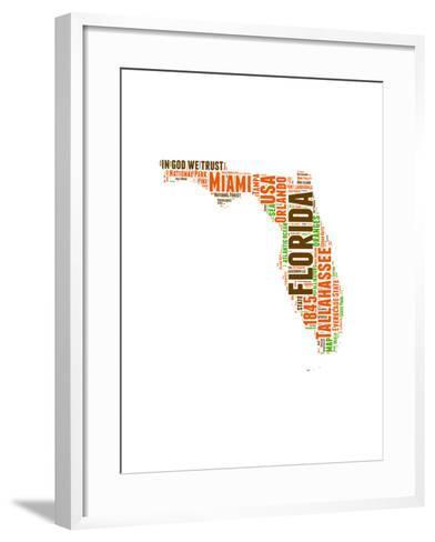 Florida Word Cloud Map-NaxArt-Framed Art Print