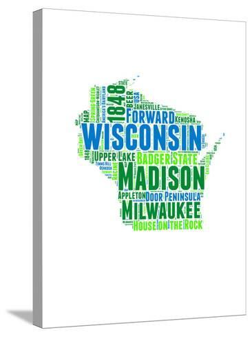 Wisconsin Word Cloud Map-NaxArt-Stretched Canvas Print
