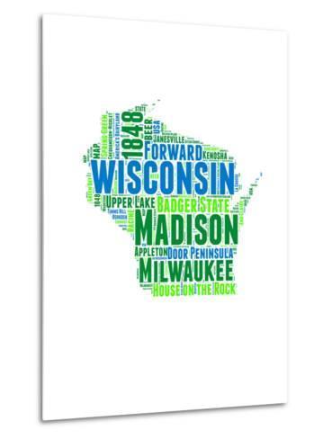 Wisconsin Word Cloud Map-NaxArt-Metal Print