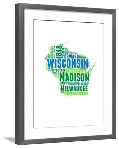 Wisconsin Word Cloud Map-NaxArt-Framed Art Print