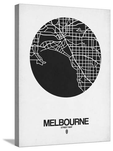 Melbourne Street Map Black on White-NaxArt-Stretched Canvas Print