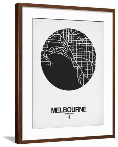 Melbourne Street Map Black on White-NaxArt-Framed Art Print