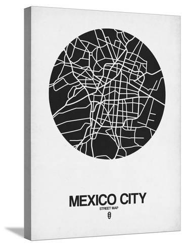 Mexico City Street Map Black on White-NaxArt-Stretched Canvas Print