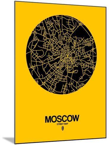 Moscow Street Map Yellow-NaxArt-Mounted Art Print