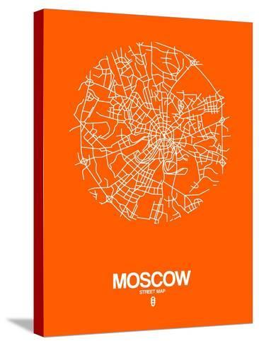 Moscow Street Map Orange-NaxArt-Stretched Canvas Print
