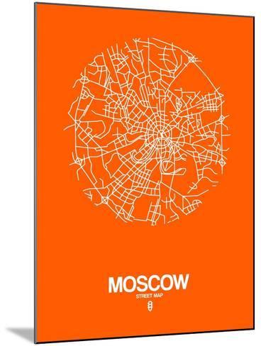 Moscow Street Map Orange-NaxArt-Mounted Art Print