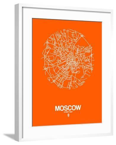 Moscow Street Map Orange-NaxArt-Framed Art Print