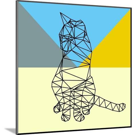 Black Party Cat Polygon-Lisa Kroll-Mounted Art Print
