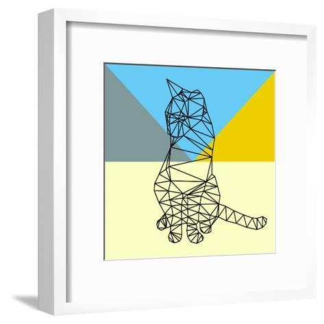 Black Party Cat Polygon-Lisa Kroll-Framed Art Print