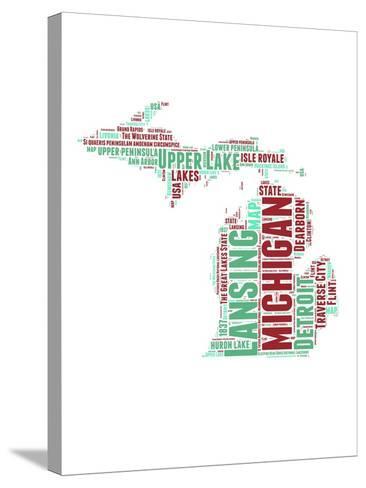 Michigan Word Cloud Map-NaxArt-Stretched Canvas Print