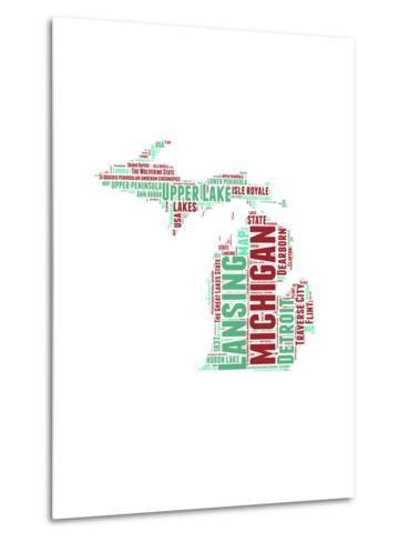 Michigan Word Cloud Map-NaxArt-Metal Print