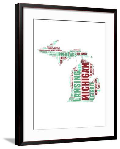 Michigan Word Cloud Map-NaxArt-Framed Art Print