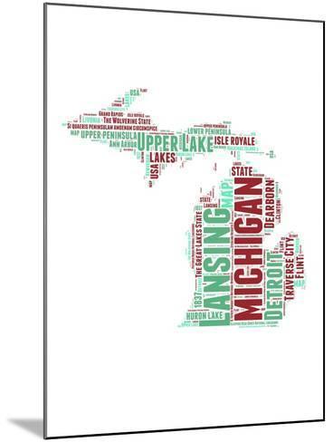 Michigan Word Cloud Map-NaxArt-Mounted Art Print