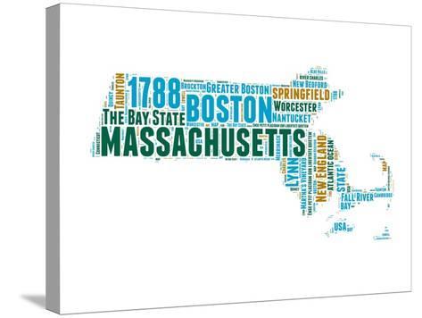 Massachusetts Word Cloud Map-NaxArt-Stretched Canvas Print
